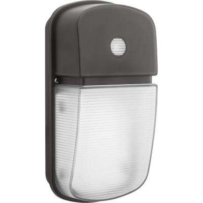Bronze Outdoor Integrated LED Wall Pack Light with Dusk to Dawn Photocell
