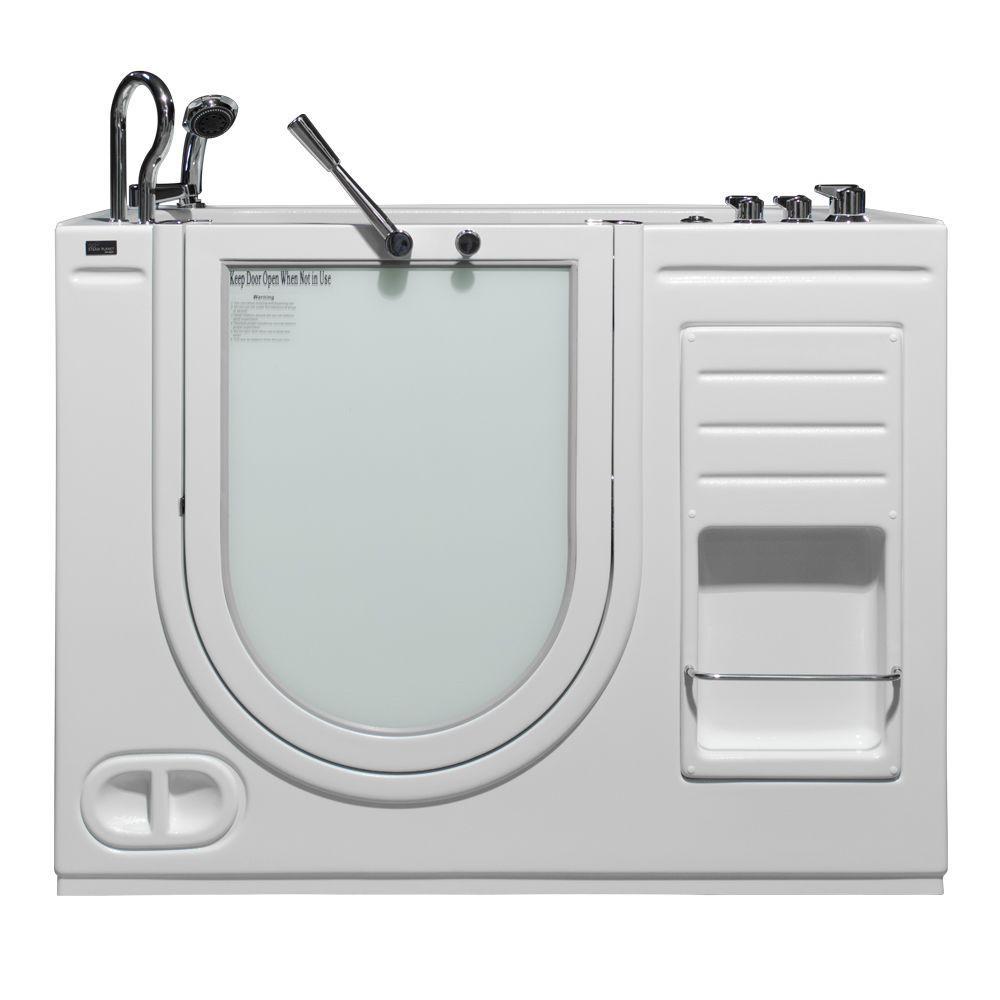 HydroLife 4.27 ft. Left Drain Walk-In Heated Air Bath Tub in White