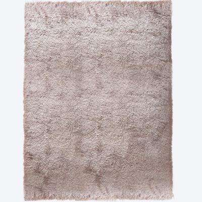 Montage Beige Solid Shag 5 ft. 2 in. x 7 ft. 2 in. Indoor Area Rug