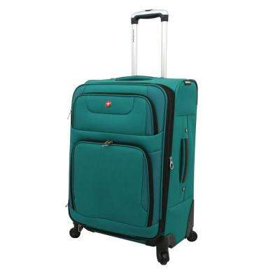 24 in. Teal and Black Spinner Suitcase