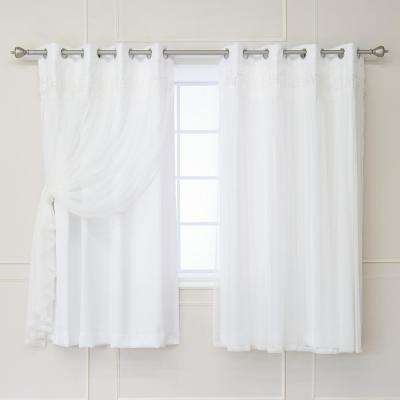 White 63 in. L Elis Lace Overlay Room Darkening Curtain Panel (2-Pack)