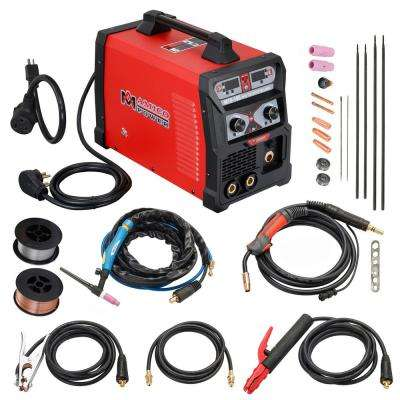165 Amp MIG Wire Feed/Flux Core/TIG Torch/Stick Arc Welder, Weld Aluminum with 2T/4T 110-Volt/230-Volt Welding