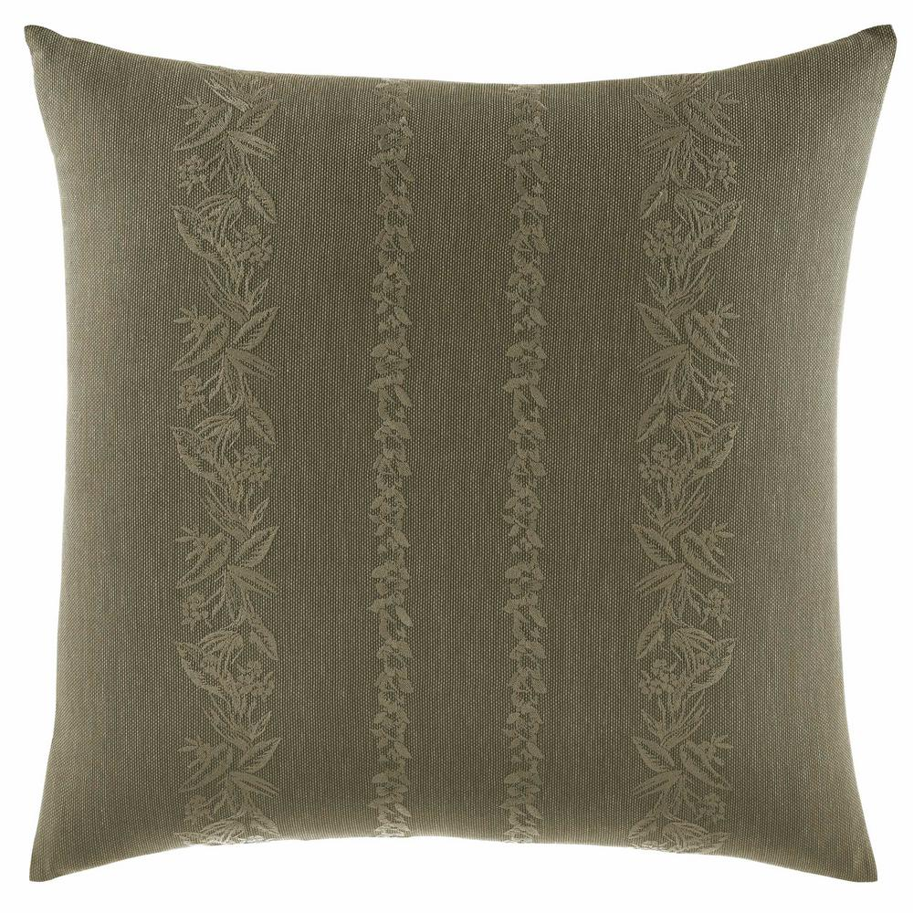 Nador Linen Texture 18 in. x 18 in. Throw Pillow, Green The beautiful Tommy Bahama Nador Square Throw Pillow brings a touch of paradise to your bedroom decor. Crafted in soft and comfortable cotton, the soothing botanical design features vertical bands of tropical florals embroidered on a textured sage ground. Dimensions: (18 in. x 18 in.). Color: Green.