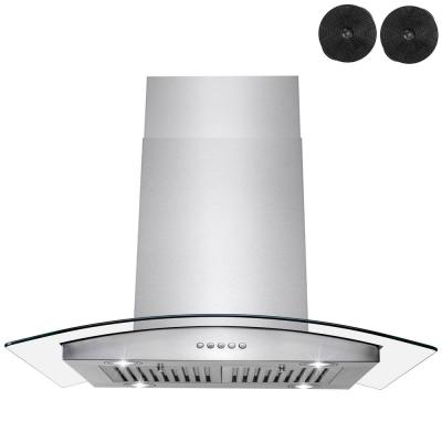 AKDY 30 in. Convertible Kitchen Island Mount Range Hood in Stainless Steel with Tempered Glass and Touch Control, Silver