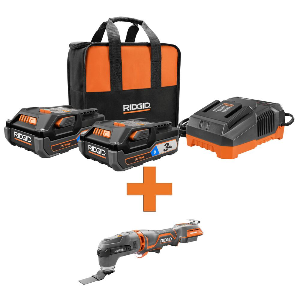 RIDGID 18-Volt OCTANE Lithium-Ion (2) 3.0 Ah Batteries and Charger Kit w/Free OCTANE Brushless JobMax Multi-Tool was $338.0 now $219.0 (35.0% off)