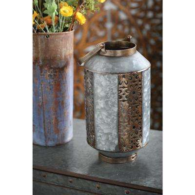 Gray Pierced Floral Design Candle Lantern