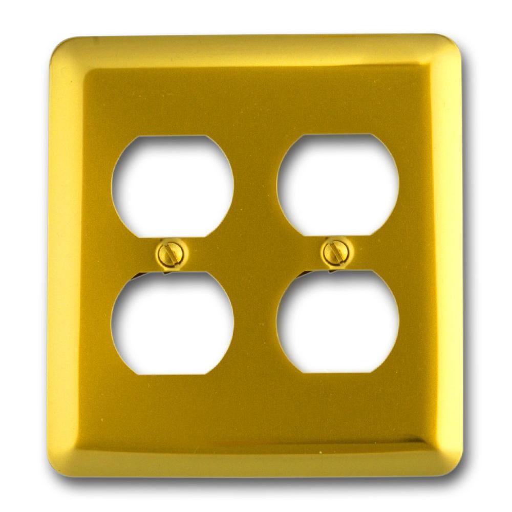Steel 2 Duplex Wall Plate - Bright Brass