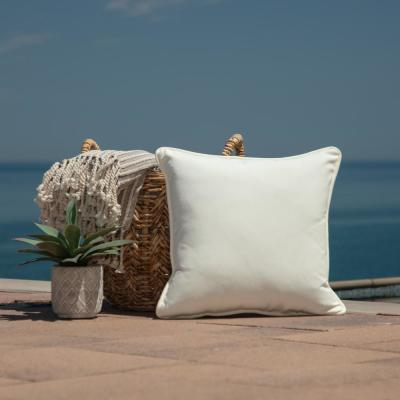 Oasis 18 in.  Cloud White  Square  Indoor/Outdoor  Throw Pillow