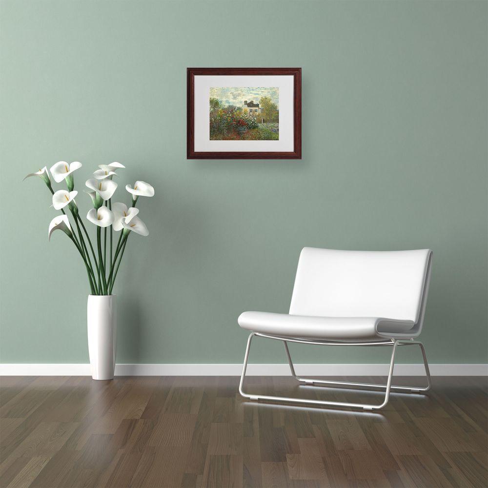 Trademark Fine Art 11 in. x 14 in. The Artist's Garden Matted Brown Framed Wall Art