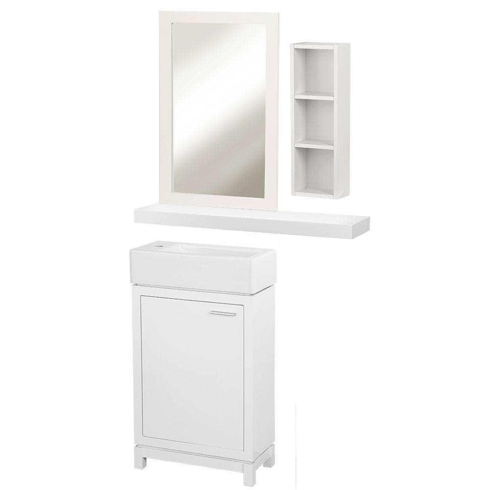 Home Decorators Collection Kole 19.75 in. W x 10.00 in. D x 34.75 in. H Vanity in White with Vanity Top in with White Fireclay Sink and Mirror