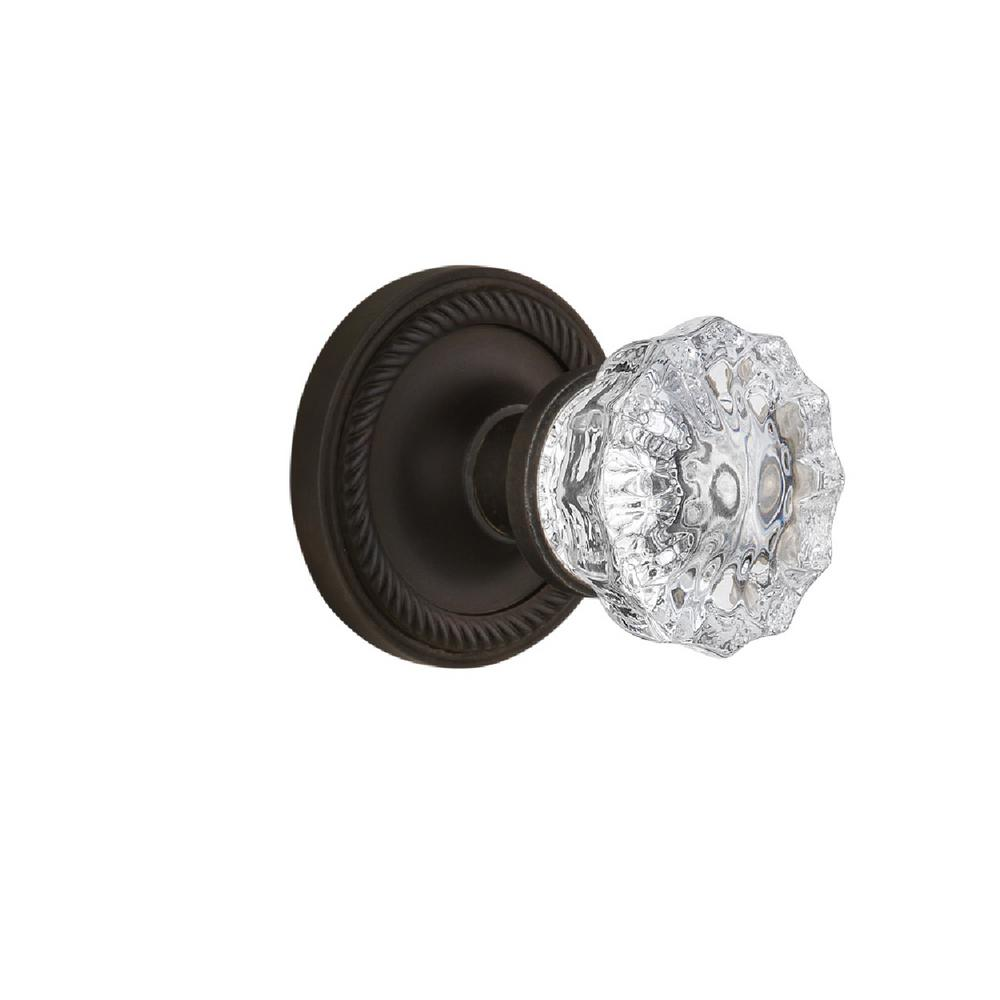 Nostalgic Warehouse Rope Rosette 2-3/8 in. Backset Oil-Rubbed Bronze Passage Crystal Glass Door Knob