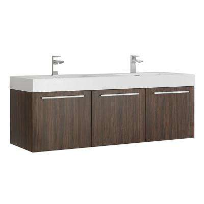 Vista 60 in. Modern Wall Hung Bath Vanity in Walnut with Double Vanity Top in White with White Basins