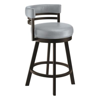Lincoln 30 in. Gray Steel Swivel Barstool