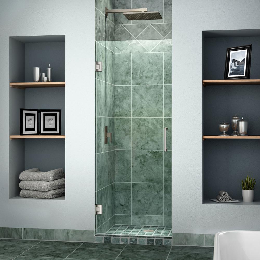 Unidoor 28 in. x 72 in. Frameless Hinged Pivot Shower Door in Brushed Nickel with Handle in Brushed Nickel