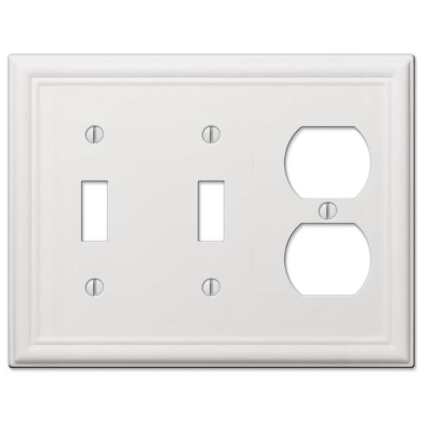 Ascher 3 Gang 2-Toggle and 1-Duplex Steel Wall Plate - White