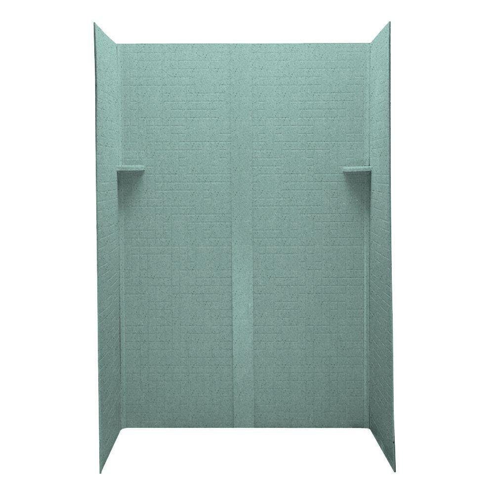 Swanstone Geometric 32 in. x 48 in. x 72 in. Five Piece Easy Up Adhesive Shower Wall Kit in Tahiti Evergreen-DISCONTINUED
