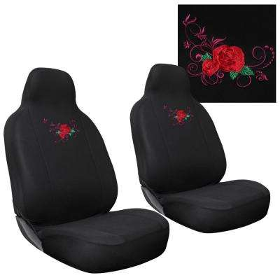 Polyester Set Cover Set 24 in. L x 21 in. W x 40 in. H 2-Piece Embroidered Red Rose Seat Cover Set
