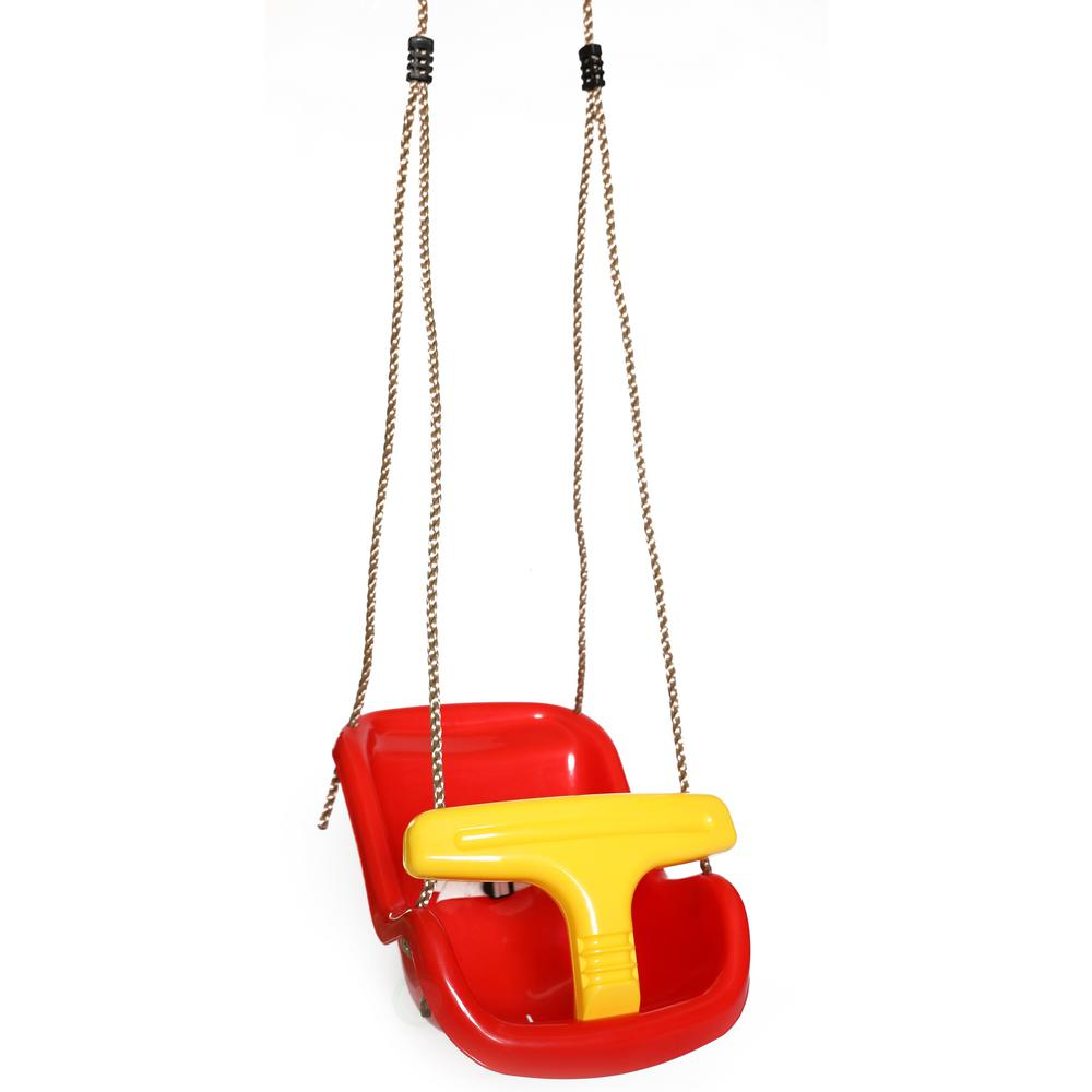 Outdoor Baby Swing >> Playberg Red Plastic Baby And Toddler Swing Seat With Hanging Ropes