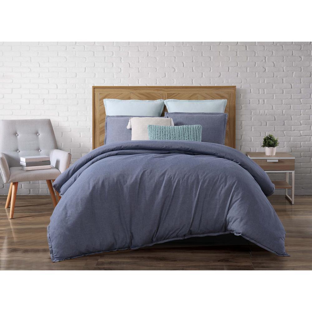 Chambray Loft Blue Twin Extra Long Comforter Set