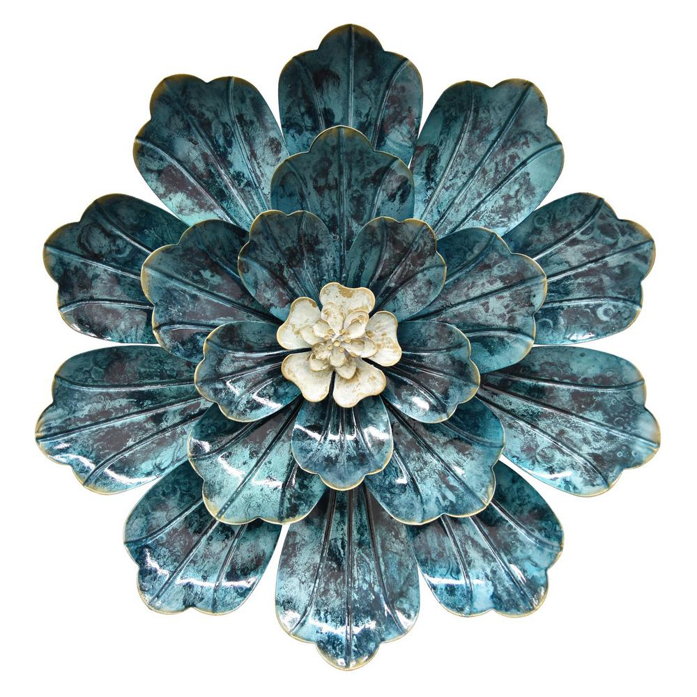 Three Hands 14 5 In Metal Flower Wall Decor In Blue 10694 The