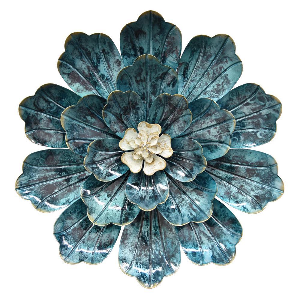 14.5 in. Metal Flower Wall Decor in Blue