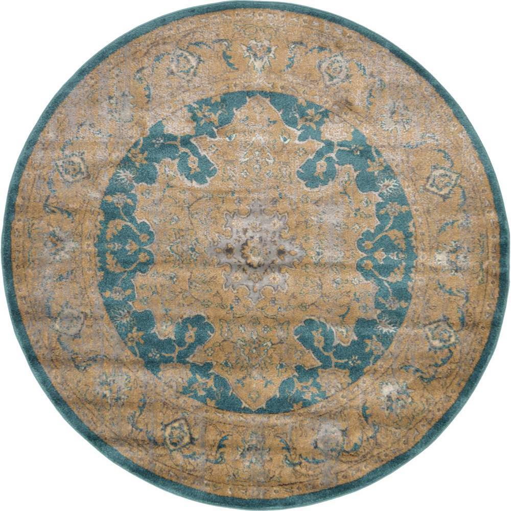 Unique loom stockholm teal 6 ft x 6 ft round area rug for Area933