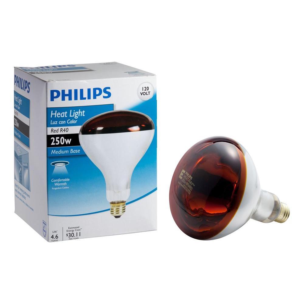Philips 250-Watt Incandescent R40 Red Heat Lamp Light Bulb-415836 ...