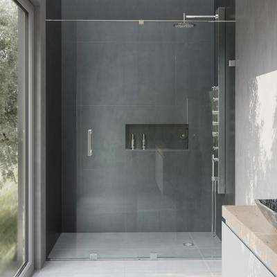 Ryland 64 in. x 71.5 in. Semi-Framed Sliding Shower Door with Hardware in Chrome with 3/8 in. Clear Glass