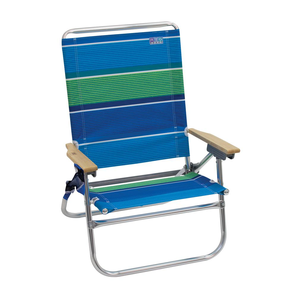 Remarkable Rio 4 Position Easy In Easy Out Aluminum Striped Beach Chair With Hardwood Armrests Home Interior And Landscaping Ferensignezvosmurscom