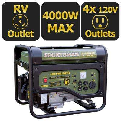 4,000-Watt Gasoline Powered Portable Generator with RV Outlet