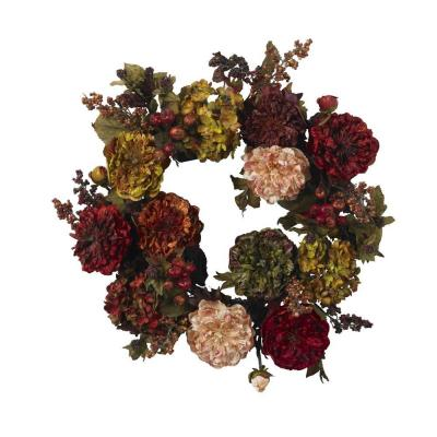 22in. Artificial Wreath with Autumn Hydrangeas and Peony