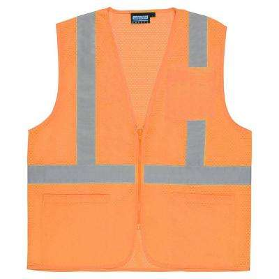 S363P 5X Class 2 Economy Poly Mesh Pocketed and Zippered Hi Viz Orange Vest