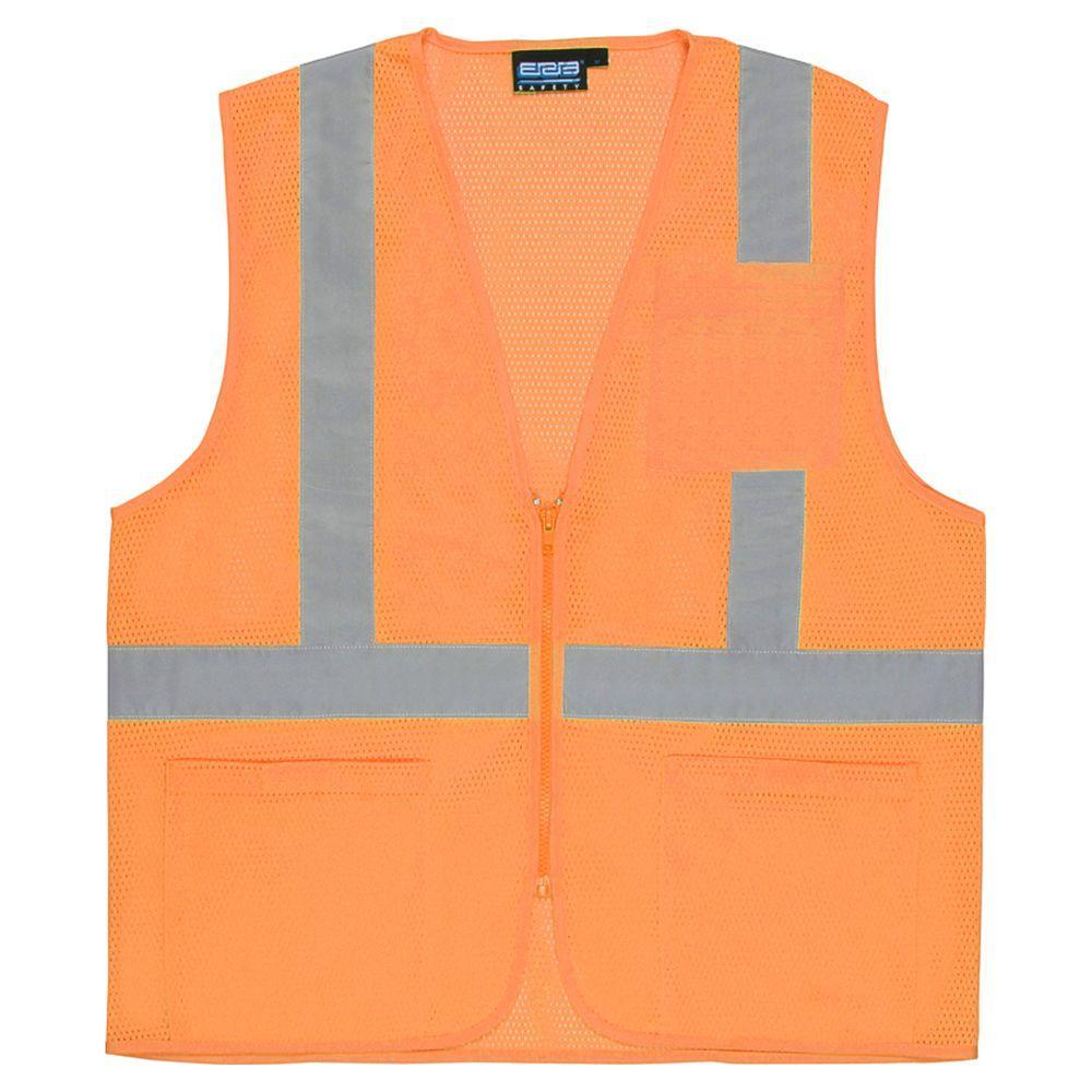 S363P XL Class 2 Economy Poly Mesh Pocketed and Zippered Hi Viz Orange Vest