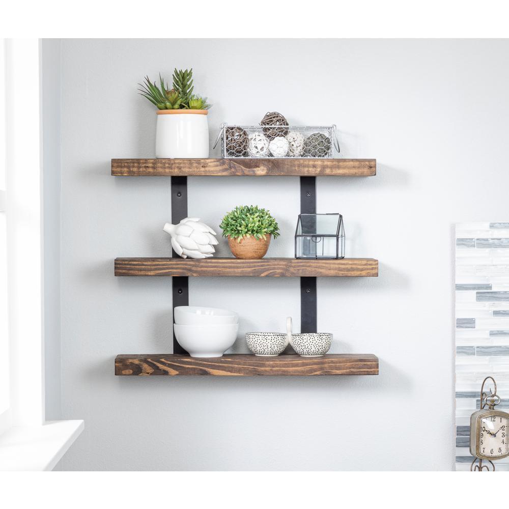 Industrial Grace 5.5in x 24in x 20in Dark Walnut Pine Wood Three-TIer Decorative Wall Shelf with Brackets
