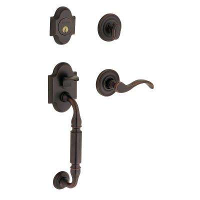 Canterbury Single Cylinder Oil Rubbed Bronze Left-Handed Door Handleset with Wave Lever