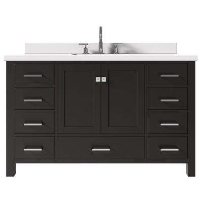 Cambridge 55 in. W x 22 in. D x 35 in. H Vanity in Espresso with Quartz Vanity Top in White with Basin