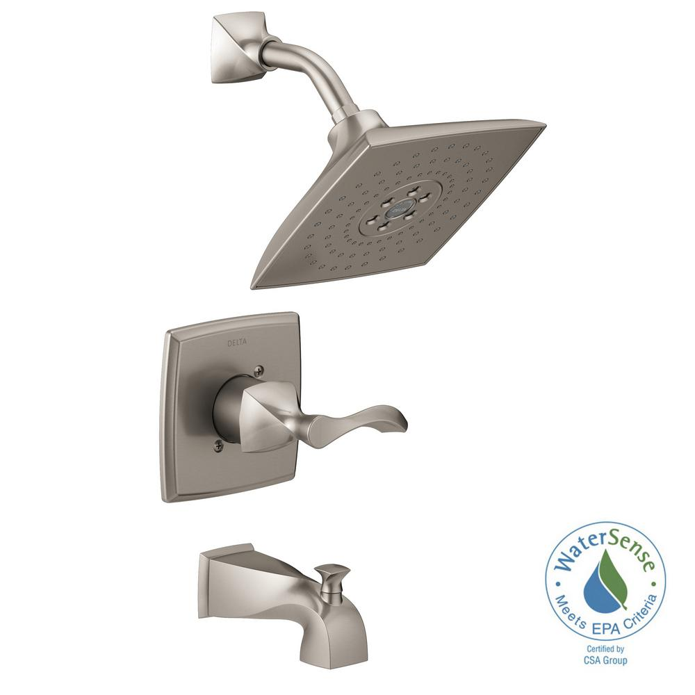 Delta Everly H2Okinetic Single-Handle 3-Spray Tub and Shower Faucet in SpotShield Brushed Nickel (Valve Included)