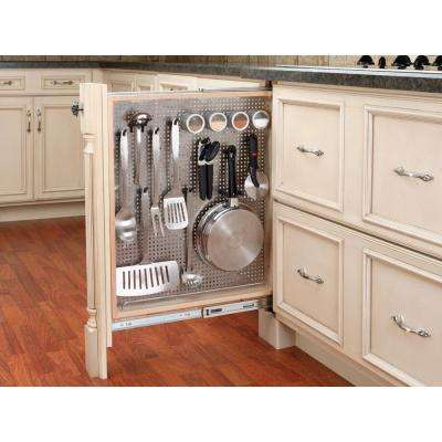 30 in. H x 3 in. W x 23 in. D Pull-Out Between Cabinet Base Filler with Stainless Steel Panel