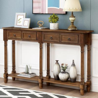 58 in. Brown Standard Rectangle Wood Console Table with Drawers