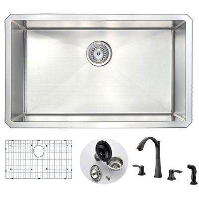 VANGUARD Undermount Stainless Steel 30 in. Single Bowl Kitchen Sink and Faucet Set with Soave Faucet in Oil Bronze