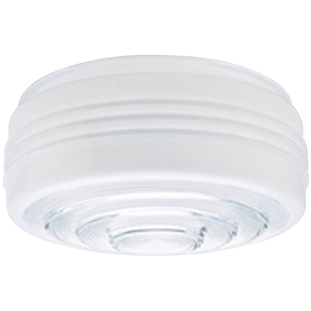 4 in. White and Clear Drum Shade with 8 in. Fitter