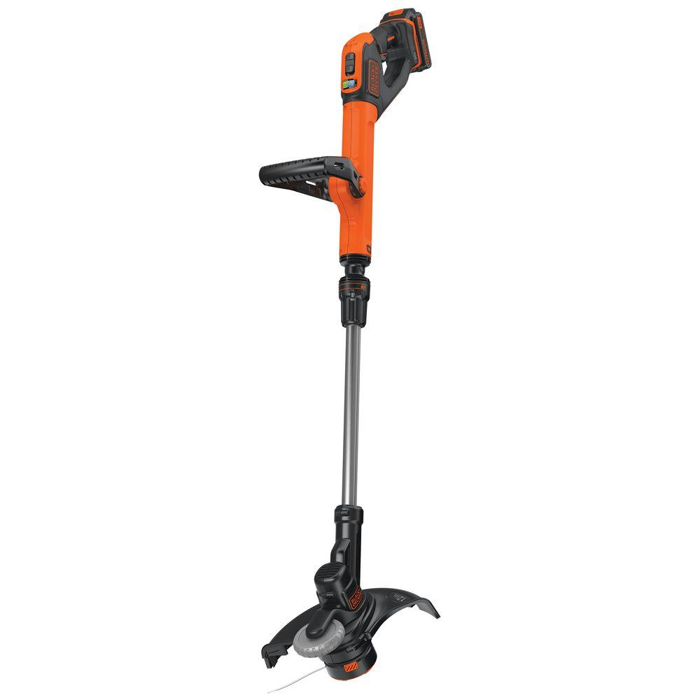 decker string trimmer grass battery cordless edger lawn charger volt lithium ion trimmers max lst522 5ah included depot