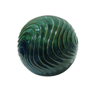 10 in. Multi-Color Waves Ceramic Gazing Globe