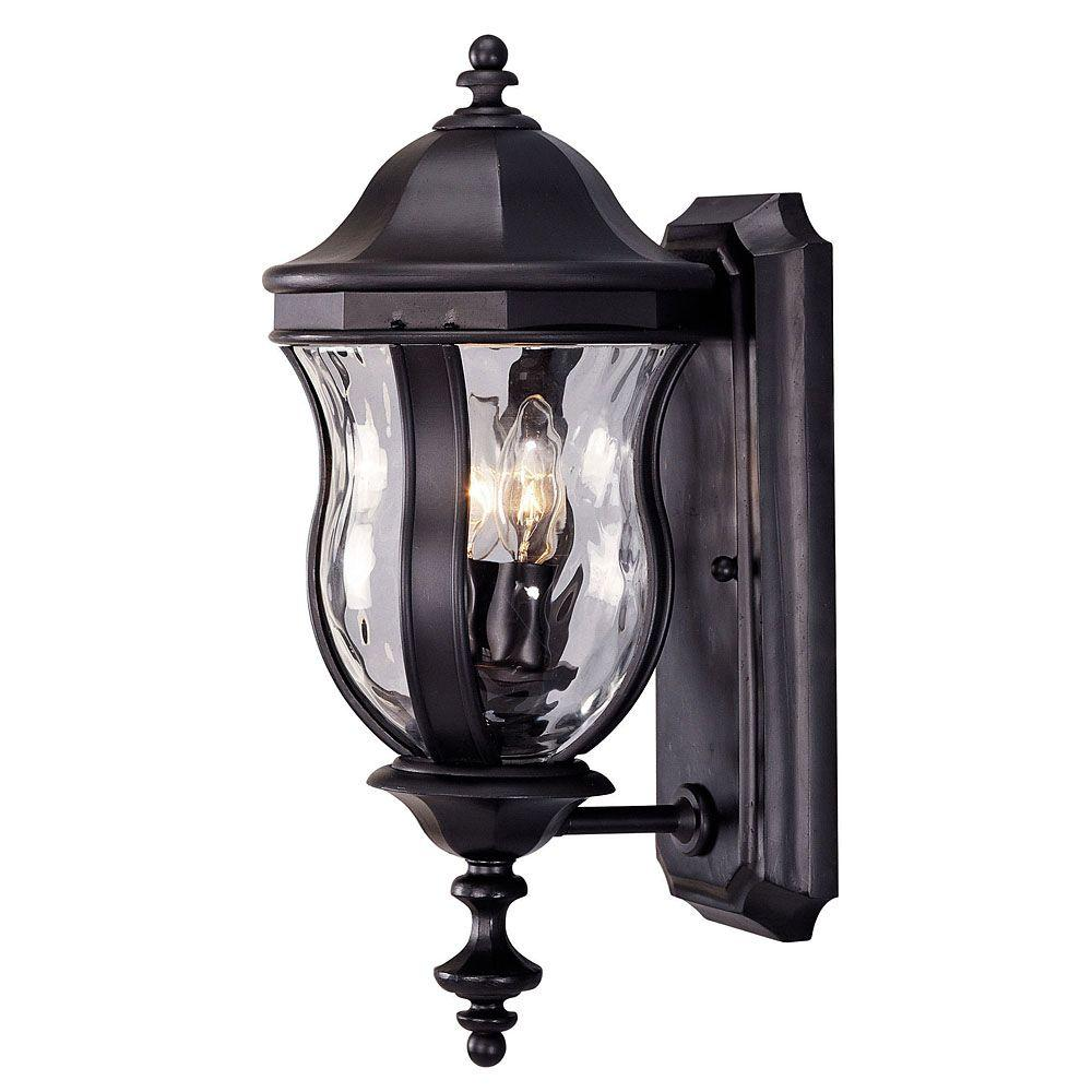 Illumine 2-Light Black Wall Lantern Sconce with Clear Watered Glass