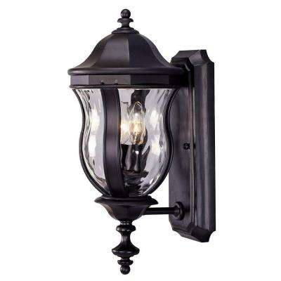2-Light Black Wall Mount Lantern with Clear Watered Glass