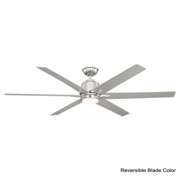 Home Decorators Collection Kensgrove 64 In Led Brushed Nickel Ceiling Fan Works With Google Assistant And Alexa Yg493b Bn The Home Depot