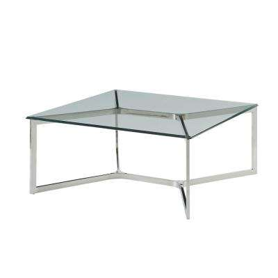 Volusius Stainless Steel and Clear Glass Coffee Table