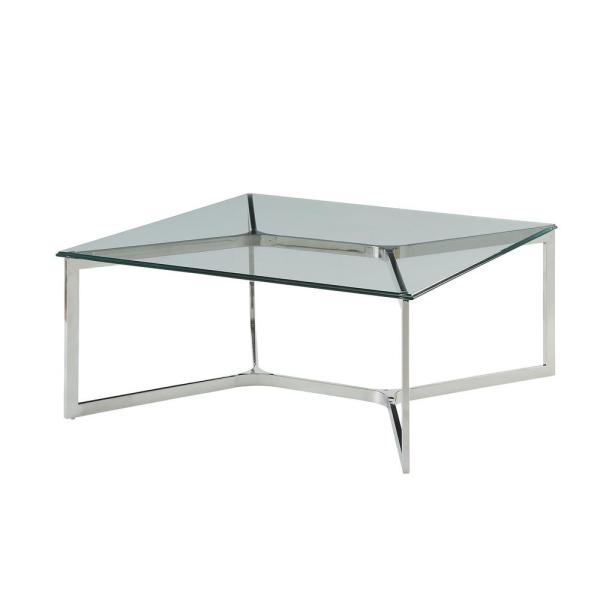 Volusius 35 in. Stainless Steel/Clear Medium Rectangle Glass Coffee Table