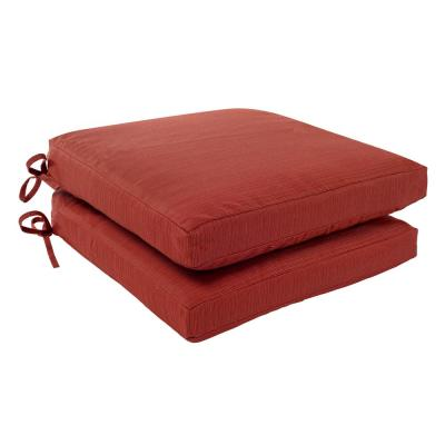 Charlottetown 18 x 18 Quarry Red Outdoor Patio Dining Chair Replacement Cushion (2-Pack)