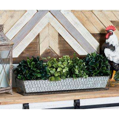 Gray Iron 4-Compartment Garden Caddy with Handle